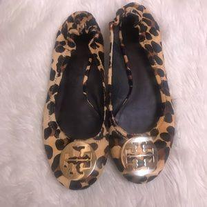 Tory Burch Leopard Print Calf Hair Slip-ons Flats